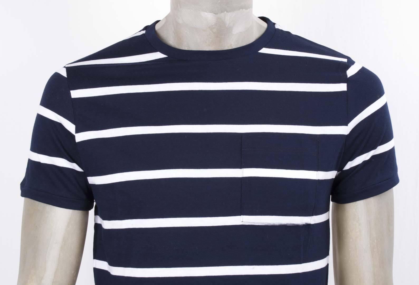 Mods London T-hemd Tour mit Tasche Blau Gestreift Weiß Schlank aus Baumwolle
