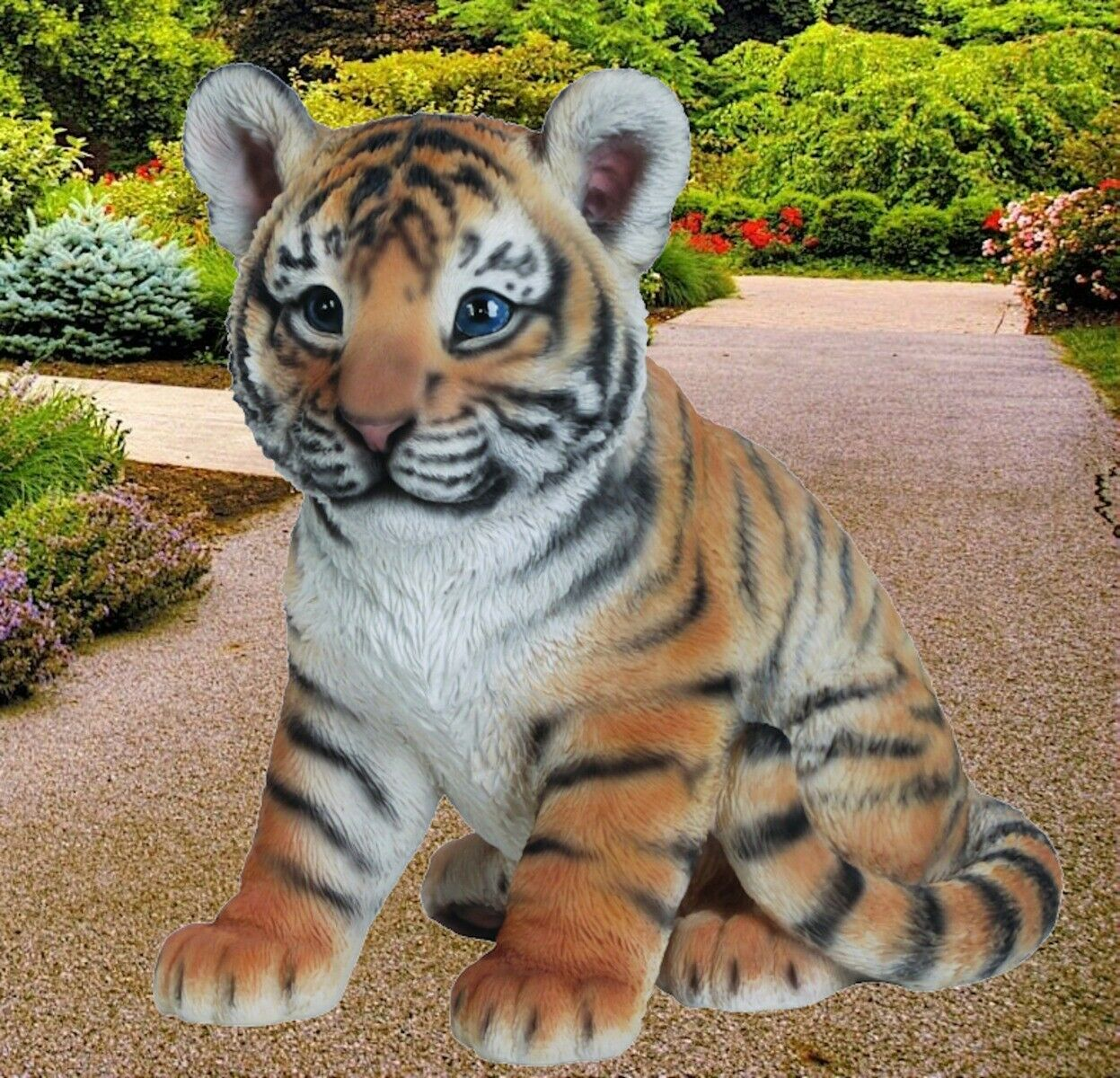Real Life NEW Lifelike Garden Ornament Indoor or Outdoor Tiger Cub Zoo