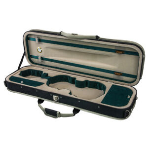 Deluxe-4-4-Size-Acoustic-Violin-Fiddle-Case-Green-w-Strap-Oblong-CLEARANCE