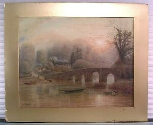 Early 20th c British Landscape Watercolor Painting Signed Listed