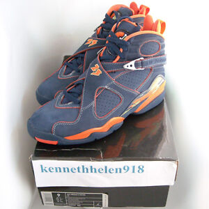 732f7588b8d020 Details about NEW 2007 NIKE AIR JORDAN 8 VIII RETRO LS PEA POD NAVY ORANGE  MENS SIZE 9