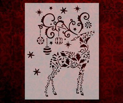 "Christmas Reindeer Holiday Ornaments 8.5/"" x 11/"" Stencil FAST FREE SHIPPING 628"
