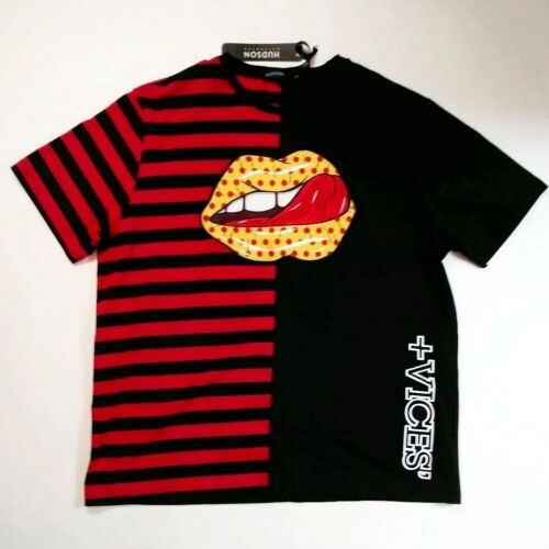 Hudson mens 100/% authentic S//S t-shirt black//red taste lick mouth rare 1of1 new
