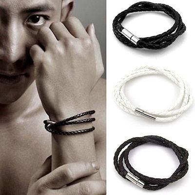 New Fashion Womens Mens Black Leather Interlaced Cuff Bangle Wristband Bracelets