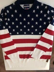 6c08f5101a1f TIPSY ELVES Men s American Flag XXL Sweater 2XL USA 🗽🇺🇸