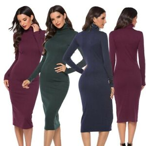 Bodycon-Turtleneck-Long-Sleeve-Women-Knit-Pencil-Sweater-Dress-Slim-Dresses