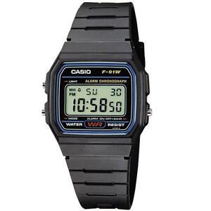 Genuine Casio F91W Digital Watch Retro Vintage Classic Unisex F-91-W-1 Original