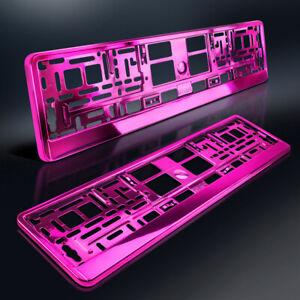 2-Kennzeichenhalter-PINK-Metallic-Hochglanz-Chrom-Look-Rosa-DHL-Versand