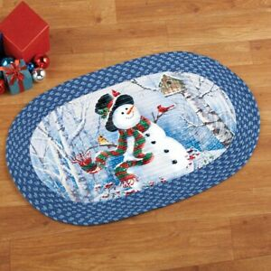 Woodland Frosty The Snowman Braided Christmas Home Kitchen Accent Rug Ebay