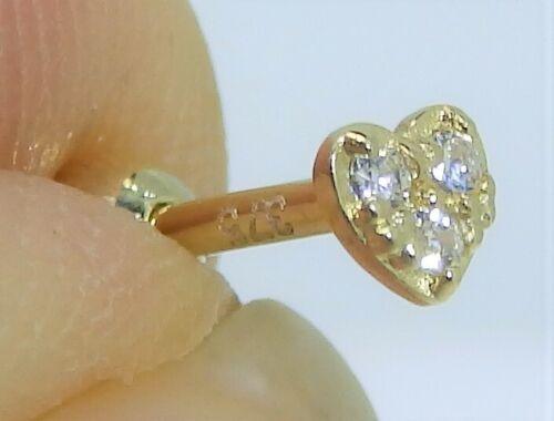 Corazón de oro 9ct Superior Oreja Hélice Cartílago Pendiente Diamante Oro Amarillo De 9 quilates