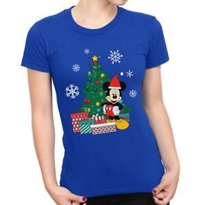 Mickey-Mouse-Christmas-Tree-Women-039-s-T-Shirt