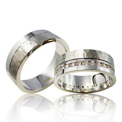 2 Silber Trauringe mit Gravur + Etui Eheringe Verlobungsringe Partnerringe 3303