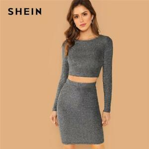 2a34ebb8814 SHEIN Silver Plain Crop Form Fitting Glitter Top and Bodycon Skirt ...