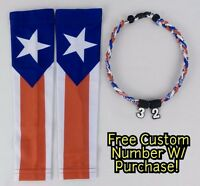 Sports Compression Arm Sleeves Baseball Puerto Rico Flag & Rope Necklace W/