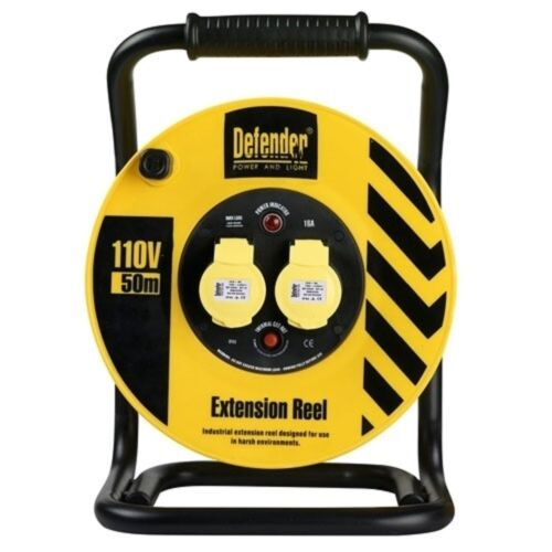 Defender Heavy Duty 50mtr Cable Extension Reel 110v//16a E86510