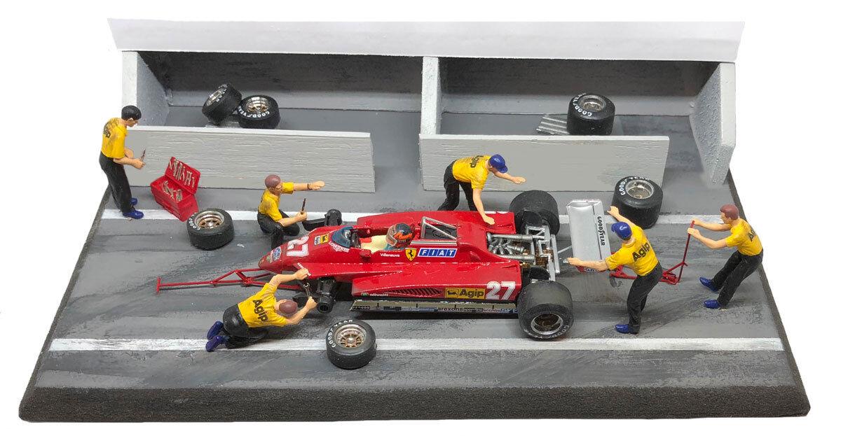 NCB004 Ferrari 126C2 1982 Gilles Villeneuve - Diorama Pit Stop Set 1 43 Scale