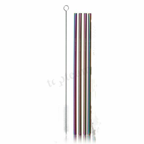 4pcs RAINBOW Metall Trinkhalm Edelstahl Mehrweg Bar Cleaner Brush