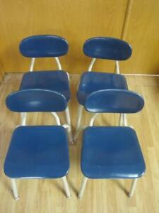 Lot of 4 VINTAGE MELSUR TEAL BLUE MID CENTURY SCHOOL CHAIRS EAMES ...