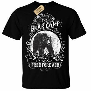 Orso-Camp-Gratuito-Forever-Forte-Campeggio-T-Shirt-Unisex-da-Uomo