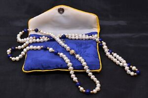 Lapis Lazuli and Freshwater Pearl necklace in pouch