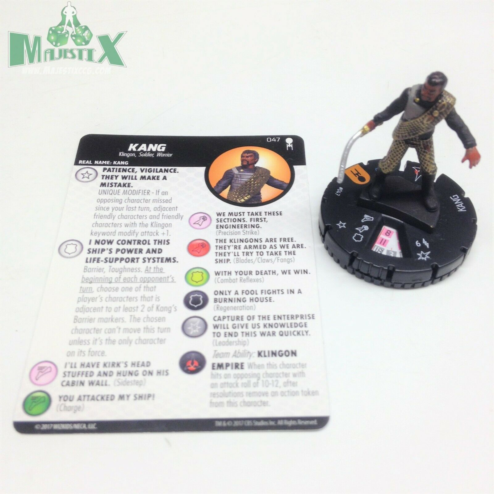 Heroclix Star Trek lejos Equipo Set Kang Figura de Chase Con Tarjeta