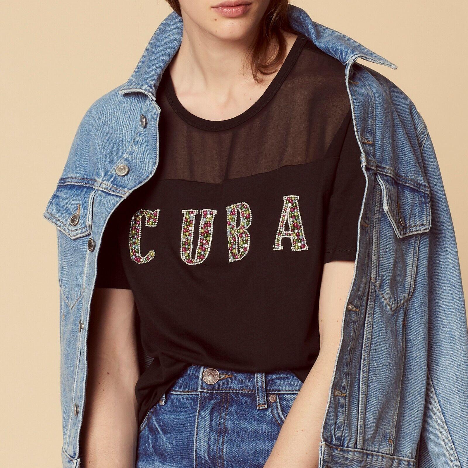 Sandro Paris Woherren schwarz Cuba beaded tshirt - NWT- Original