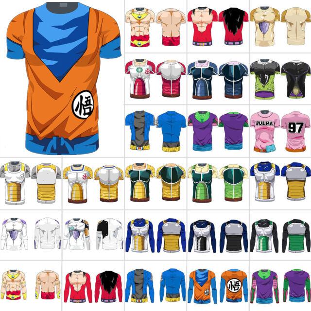 Mens Dragon Ball Z T-shirts DBZ Goku Cartoon Compression Sports Muscle Tops Tee
