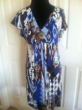 Women's Style & Co. V-Neck Short Sleeve Multi-Color Dress Size PM