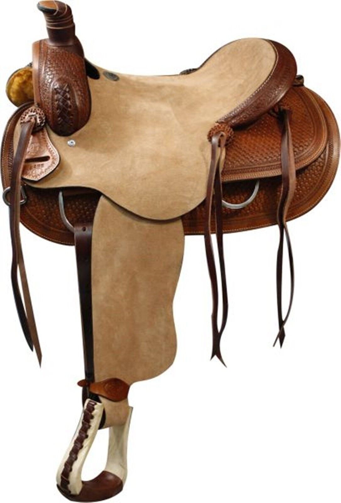 16 doppio T Roper Style Saddle Rough Out Leather Hard Seat.Basket Weave strumentoing