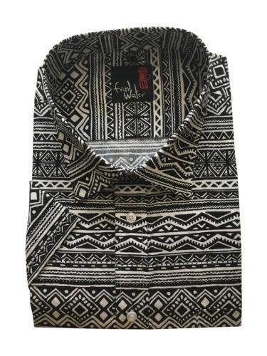 Da Uomo Manica Corta Stampa Azteca Retrò Estate REG//grandi dimensioni Camicie CottonBlend m-5xl