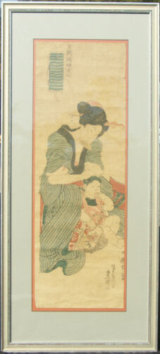 C.1844 Utagawa Kunisada Oban Tate-E Diptych Nicely Framed