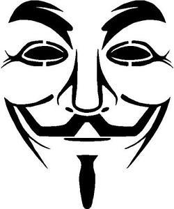 anonymous mask face wall art vinyl graphic sticker car van box