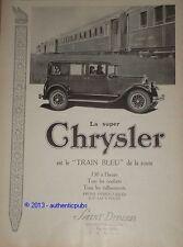PUBLICITE de 1926 SUPER CHRYSLER TRAIN BLEU VOITURE LIT ART DECO ORIGINAL AD