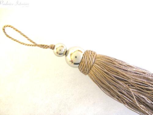 Argent orb key tassel 10cm tissu décoration chrome couture accessoire trim