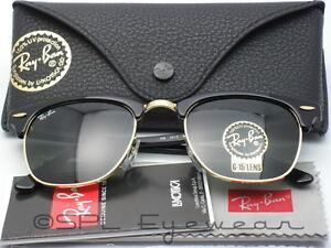 f98dd3ad25 ray ban rb 3016 clubmaster w0365 black gold g 15 green lens sunglasses 51mm