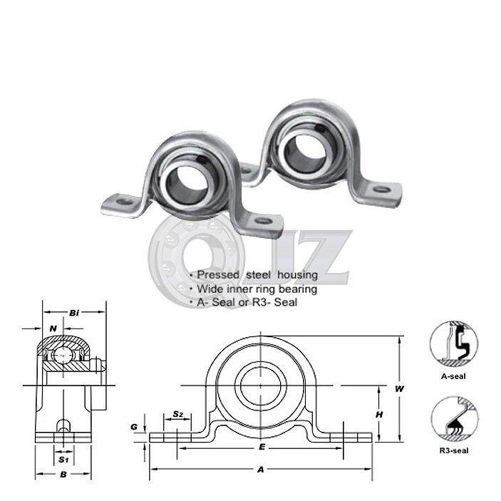 20 mm Pollow Block Pressed Steel Housing UCPP204 Mounted Bearing UC204+PP204
