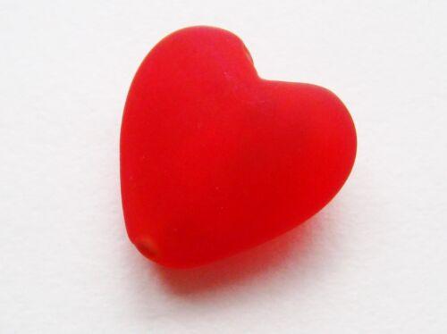 Silberfolie Glasperlen Herz matt 22x24mm 2 Stück SERAJOSY Herz Perlen