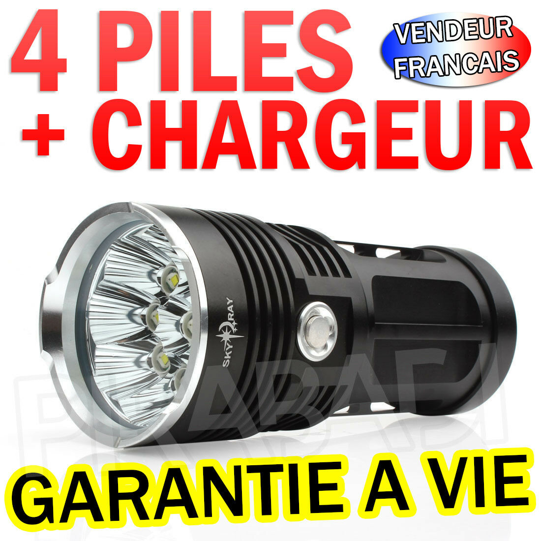 RARE - KIT COMPLET LAMPE TORCHE 25000 LUMENS 14 LED FLASHLIGHT CREE T6 Réf 036