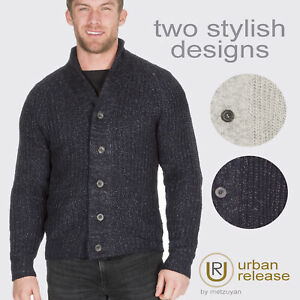 Homme-Tricot-Cardigan-boutonne-col-chale-Pull-Knitwear-Travail-Pull-UK