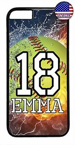Cute-Softball-Personalized-Name-amp-Number-Case-Cover-iPhone-X-Xs-Max-XR-8-7-6-Plus