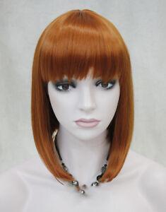 BOB-Orange-Brown-Short-Straight-Women-Ladies-Daily-wig-9606-free-wig-cap