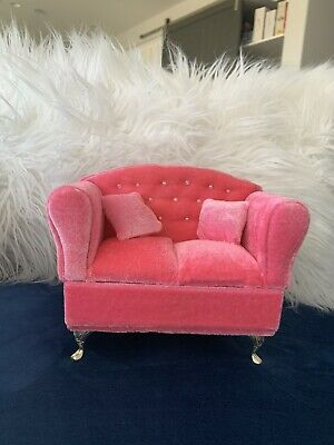 Pink dollhouse furniture sofa Chair Jewelry box collectible USA