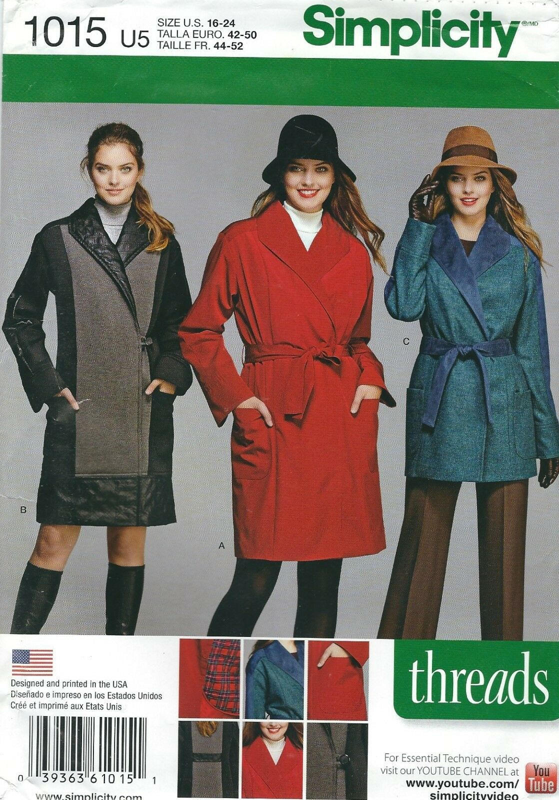 897953bd3e6d1 1015 Simplicity Coat or Jacket Sewing Pattern Sizes 16-24 | eBay