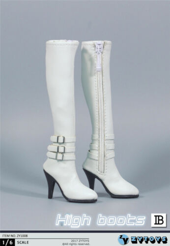 """1//6 Scale Leather Boots WHITE For 12/"""" Hot Toys TBLeague PHICEN Female Figure USA"""