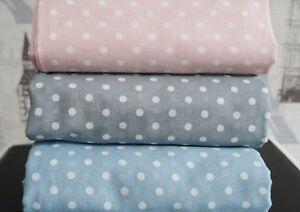 Polka-dot-100-Cotton-section-Gauze-fabric-Muslin-Dots-spots-blue-grey-JG19