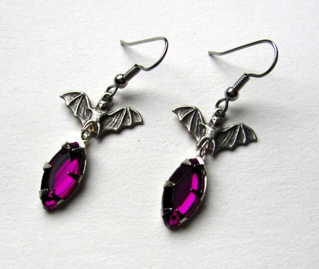 Goth VICTORIAN Bat Vampire Steampunk Medieval Elegant Earrings Silver HALLOWEEN