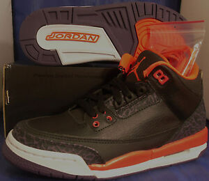 0a8d3f24937b31 Nike Air Jordan 3 Retro Black Bright Crimson III Youth SZ 5.5Y ...