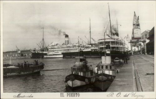 Montevideo Smships & Tugboats El Puerto Real Photo Postcard