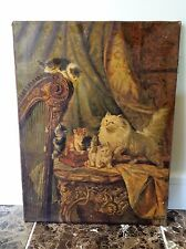 Vintage French Cat Painting