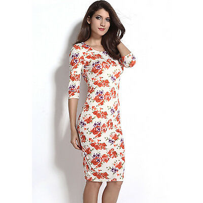 Boldgal Floral Sexy Cream Cocktail Party Women Midi Western Dress